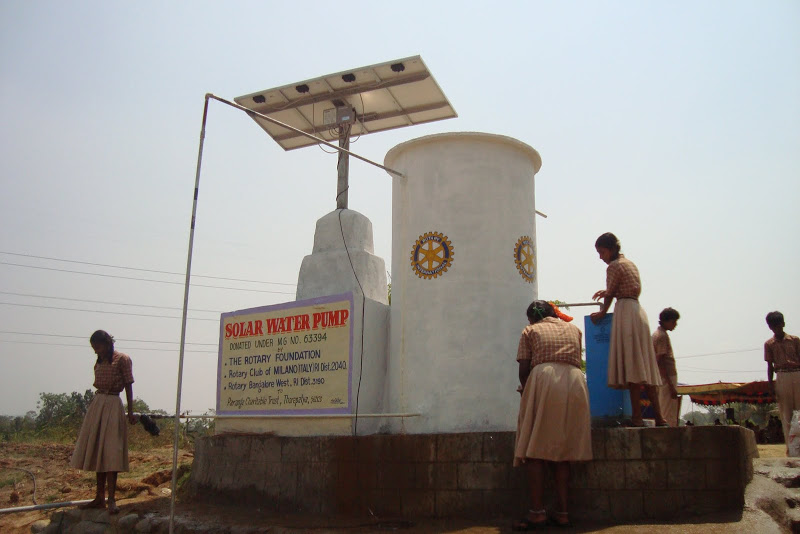 Solar water pump provides drinking water for the children